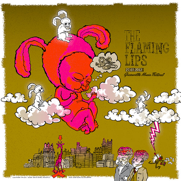 The Flaming Lips Poster Greenville Festival Magenta / Rot / Gold